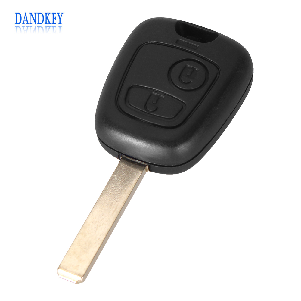 Dandkey Uncut Blank 2 Buttons Remote Key Shell Case For Citroen C2 C3 C4 C5 C6 Without Groove Free Shipping With Logo 2pcs for bandy c4 orange c4 blue remote duplicator free shipping