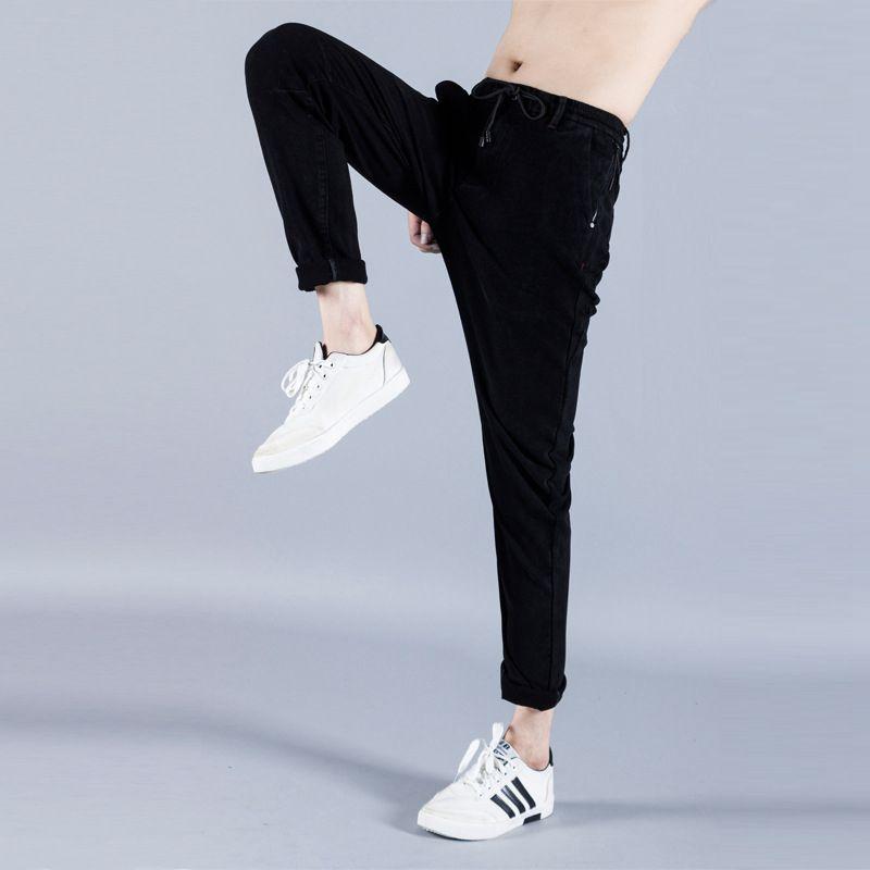 #1430 2017 Baggy Black hip hop jeans men Loose jogger jeans Mens stretch denim jeans Fashion Harem Biker Mens classic jeans