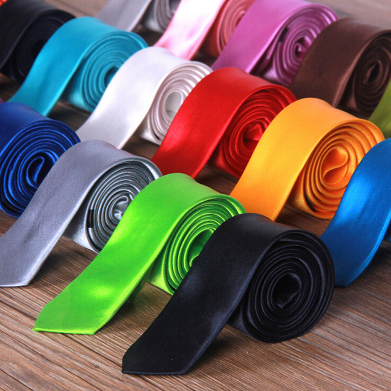 2019 Tie Necktie New Men's Slim Skinny Choker Plain Satin Business Man,multi-color Fashion Style Pure Color For Boyfriend Gift