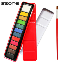 EZONE 12 цветов твердый порошок торт в акварельной бумаге пигментная краска с 1 кисть для ПК железный ящик палитра искусство студенческий инструмент для рисования