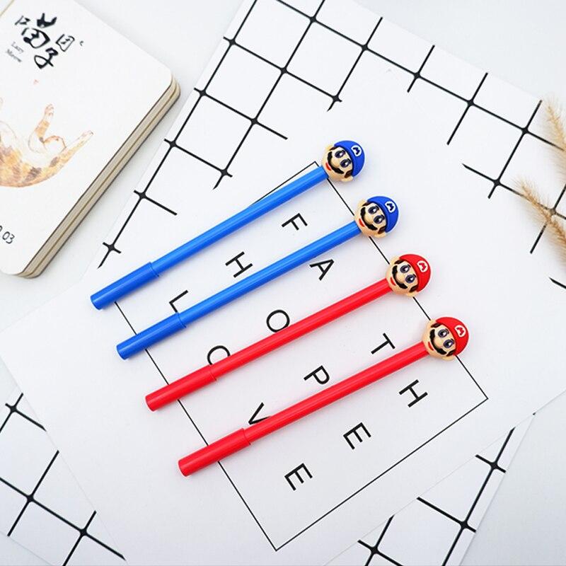 2pcs lot Cute cartoon head kawaii 0 5mm black gel pen creative Neutral pen School office stationery creative gift in Gel Pens from Office School Supplies
