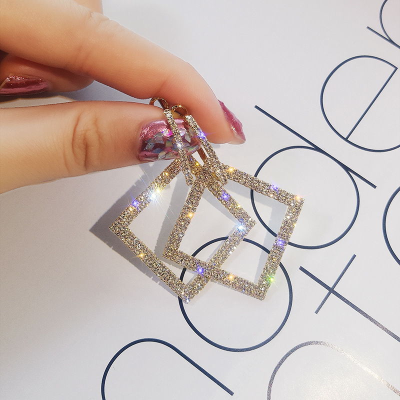 Us 3 99 2019 New Design Fashion Jewelry Elegant Luxury Earrings Square Full Of Crystal Wedding Party For Woman In Drop