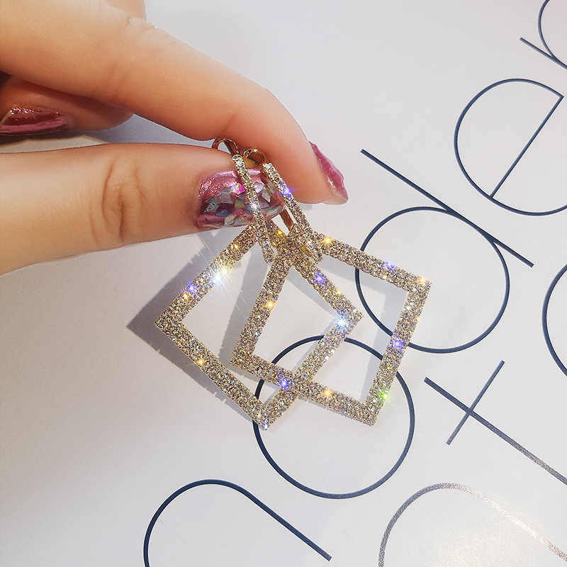 2019 new design fashion jewelry elegant luxury earrings square earrings full of crystal wedding party earrings for woman