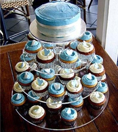 4 Tier Acrylic Round Cupcake Stand Birthday Party Display wedding ...