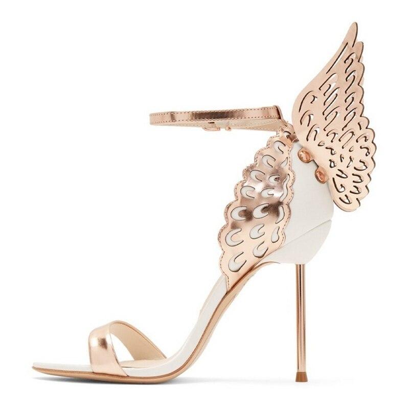 ปีกผีเสื้อรองเท้าส้นสูงผู้หญิงรองเท้าแตะ One Stiletto ส้นรองเท้าแฟชั่นส้นสูงปีก Party Sandalias Mujer 2019-ใน รองเท้าส้นสูง จาก รองเท้า บน   3