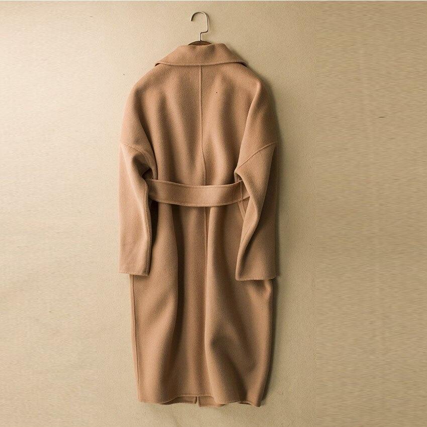 036270387fe4 Camel Wool Coat Women Luxury Belted Camel Wool Coat Female Autumn Long  Sleeve Turn down Collar Woolen Poncho Winter Coat-in Wool & Blends from  Women's ...