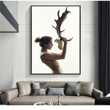 SELFLESSLY Nordic Poster Fashion Nude Girl With Antlers Wall Art Painting For Living Room Decorative Pictures Printed On Canvas(China)