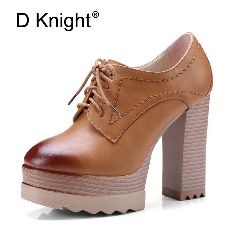 2018 New Platform High Heels Women Oxfords Shoes Ladies Casual Thick Heels Pumps Vintage PU High Heel Ankle Boots Shoes Woman ladies casual platform wedges oxford shoes for women metallic pu cut outs women high heels summer brogue oxfords shoes woman