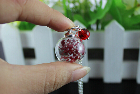 Hot sale 10pcs/  Natural all over the sky star dried flowers glass bottle pendant silver tone leaf fashion necklace friend gifts