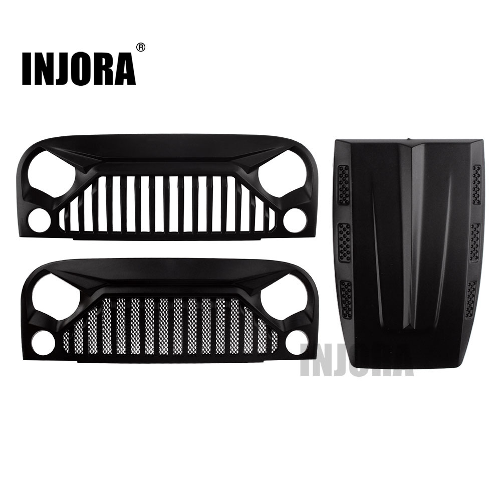 INJORA RC Car Air Inlet Grille Front Face Engine Hood For 1/10 RC Crawler Axial SCX10 90046 Jeep Wrangler Rubicon Body Shell