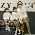 Spring Autumn Family Matching Clothes Set Mother And Daughter Clothes Cotton Long Sleeve T-shirt Leopard Trousers Family Look