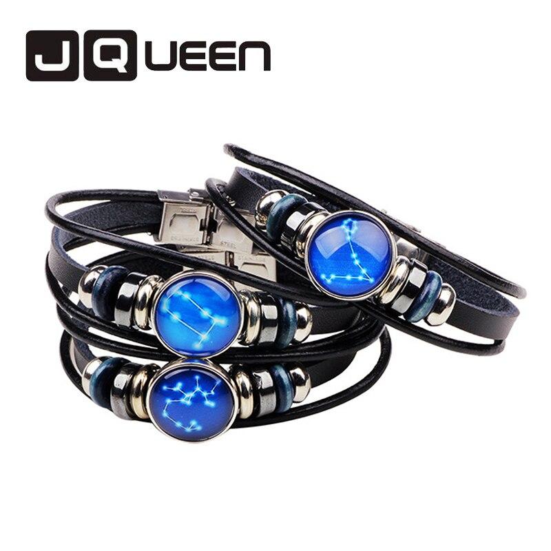 New Style Women & Men Geniune Braided Leather Bracelets 12 Constellations Bracelet Trendy Friendship Jewelry Bracelet