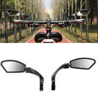 Bicycle Accessaries Mountain Bike Black Cycling Aluminum Alloy Handlebar Rear View Rearview Mirror Rectangle Back #3N13