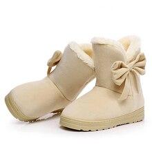 Women Snow Boots 2016 Warm Solid Plus Velvet  Flat Women Boots Winter Bowtie Casual Shoes Round Toe Wild Ladies Shoes SNF905
