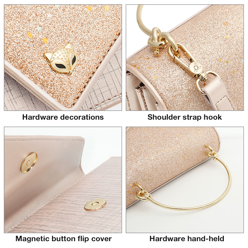 FOXER Flower Girl's Party Chic Shoulder Bags Women Dazzling Shine Evening Bags Lady Qualities Flap bags Female Messenger Bag 4