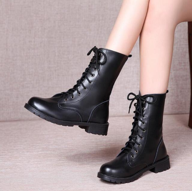 Vieruodis New Arrival Combat Military Boots Women s Motorcycle Gothic Punk Combat  Boots Female Shoes Size 35-42 L90 79474ccaa