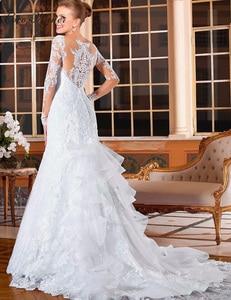 Image 2 - Sheer Neck Illusion Vestidos De Novia 2020 Lace Appliques Long Sleeve Mermaid Wedding Dress Brazil Mariage Wedding Gowns W0004