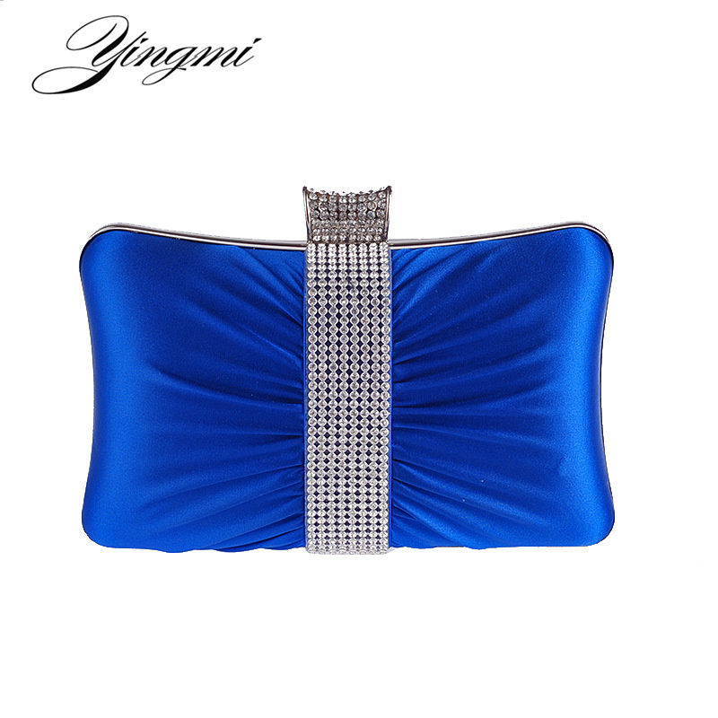 Rhinestones Women Evening Bags Ruched Metal Day Clutches Handbags Mixed Color Fashion Lady Messenger Chain Shoulder Bag silver metal lady fashion evening bag silver stylish day clutches prom ladies handbag yls g74