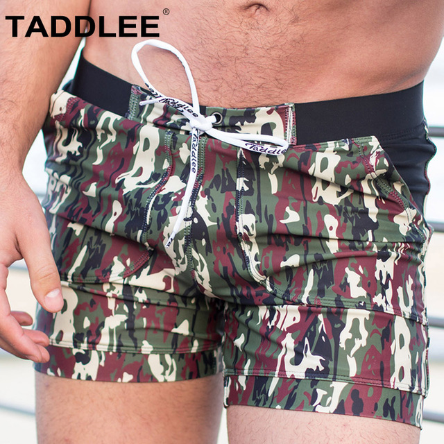 Taddlee Brand Sexy Men's Swimwear Swimsuits Camo with Pockets Board Shorts Swim Boxer Briefs Bikini Beach Trunks Bathing Suits