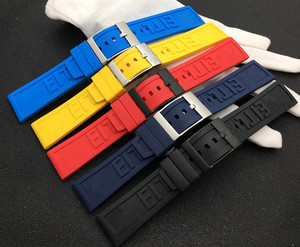 Nature Rubber Watch band 22mm 24mm Black Blue Red Yellow Watchband Bracelet For Breitling strap Navitimer Avenger logo on tools(China)