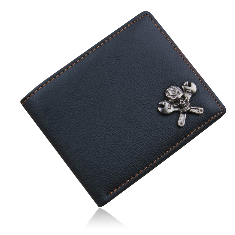 Business Men Leather Wallets Skull Rivet Card Holder Multi Pockets Credit Cards Bifold Purse For Male Simple Design