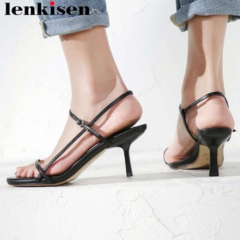 European superstars stiletto high heels full grain leather peep round toe buckle strap women sandals plus size daily shoes L88