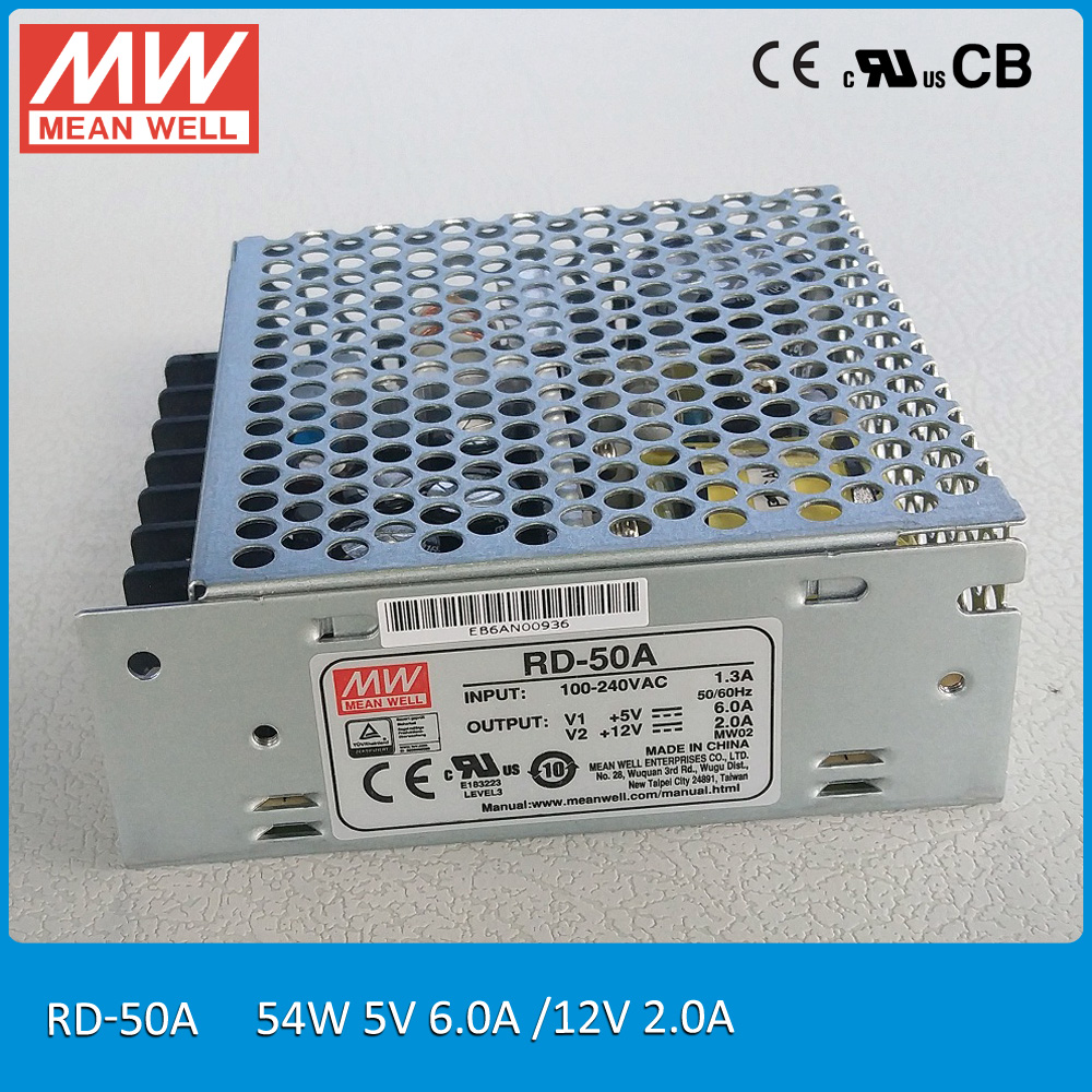 Original MEAN WELL RD-50A 54W 5V/6A 12V/2A Dual output Meanwell Power Supply mean well original pb 120n 54p 55 2v 2 2a meanwell pb 120n 55 2v 121 44w power supply or battery charger