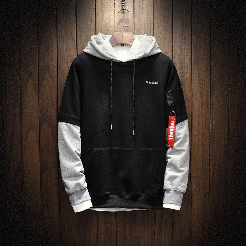 Cool Sweatshirt Men Hip Hop Patchwork Long Sleeve