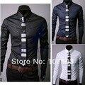 2014 New Arrival Men Slim Fit Silk Sleeve&Collar Stylish Shirts South Korea long sleeve Dress Shirts 3 colors M,L,XL,XXL 3661