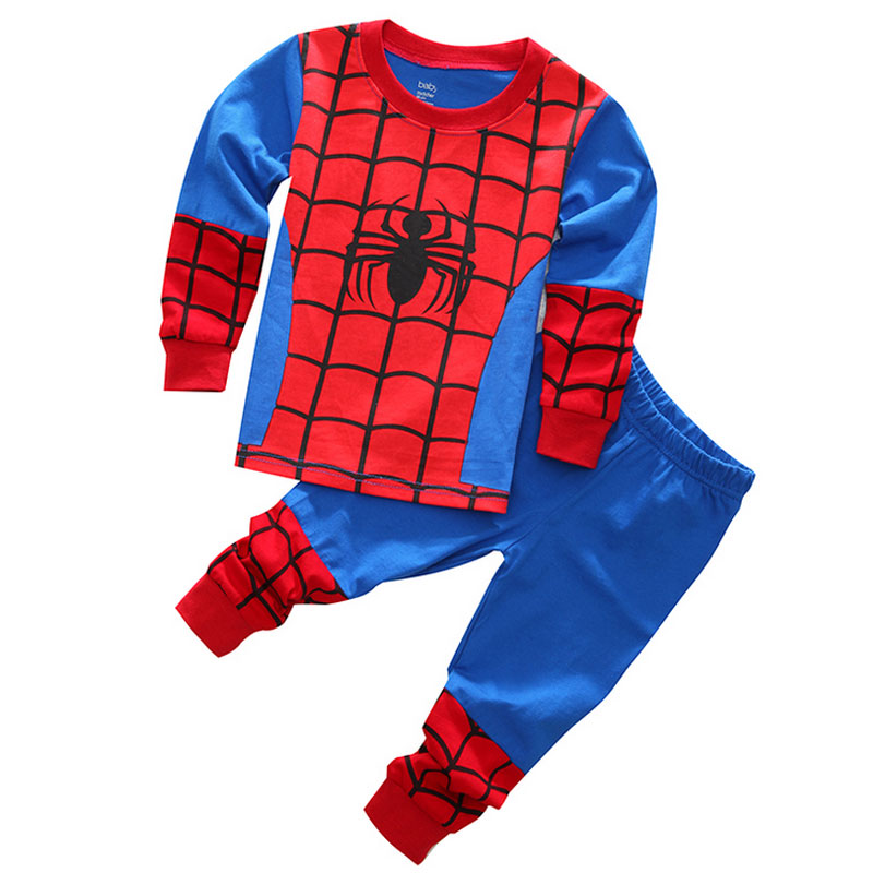 Free Shipping Long Sleeve Spring Autumn <font><b>Spiderman</b></font> <font><b>Costume</b></font> Clothes Boys Sleepwear Children <font><b>Pajama</b></font> <font><b>Set</b></font> <font><b>Kid</b></font> Cartoon Clothing YY0825