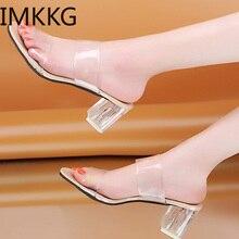 2019 CLEAR รองเท้าส้นสูงรองเท้าแตะผู้หญิงรองเท้าแตะฤดูร้อนรองเท้ารองเท้าสแควร์รองเท้าส้นสูง Jelly รองเท้าแตะ buty damskie Q00175