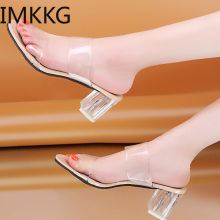2019 Clear Heels Slippers Women Sandals Summer Transparent Shoes Square High Heels Pumps Jelly Sandals buty damskie Q00175