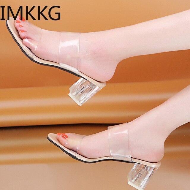 Pantoufles à talons transparents pour femmes, chaussures dété, escarpins carrés à talons hauts, sandales en gelée, buty damskie, Q00175, collection 2019