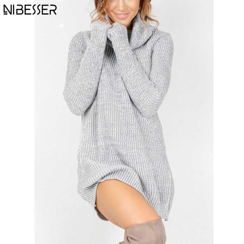 Winter Long Sweater Dress Women's Turtleneck Sweaters Pullover Female Knitted Lady's Sweater Pullover Women Solid Turtleneck