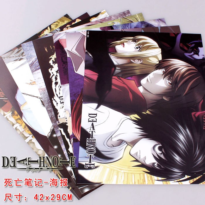 8 pcs Anime posters Death Note set L Lawlie Yagami Light figures poster 42x29cm for wall free shipping death note necklace japan anime l ryuuzaki zinc alloy silver necklaces retail bulk free shipping