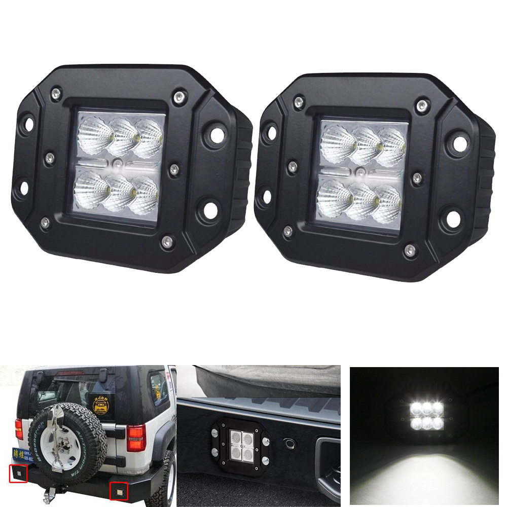 18W FLUSH MOUNT LED WORK LIGHT Bar 12V 24V Rear Fog Lamp 4X4 Offroad Trailer Truck ATV Car Pickup Tractor SUV Bumper 4WD Pack 2