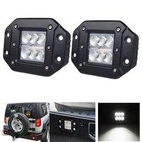 18W FLUSH MOUNT LED WORK LIGHT Bar 12V 24V Rear Fog Lamp 4X4 Offroad Trailer Truck