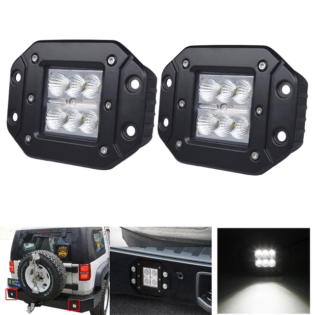 2pcs 24W FLUSH MOUNT LED WORK LIGHT Cube Pods Rear Fog 4X4 Offroad