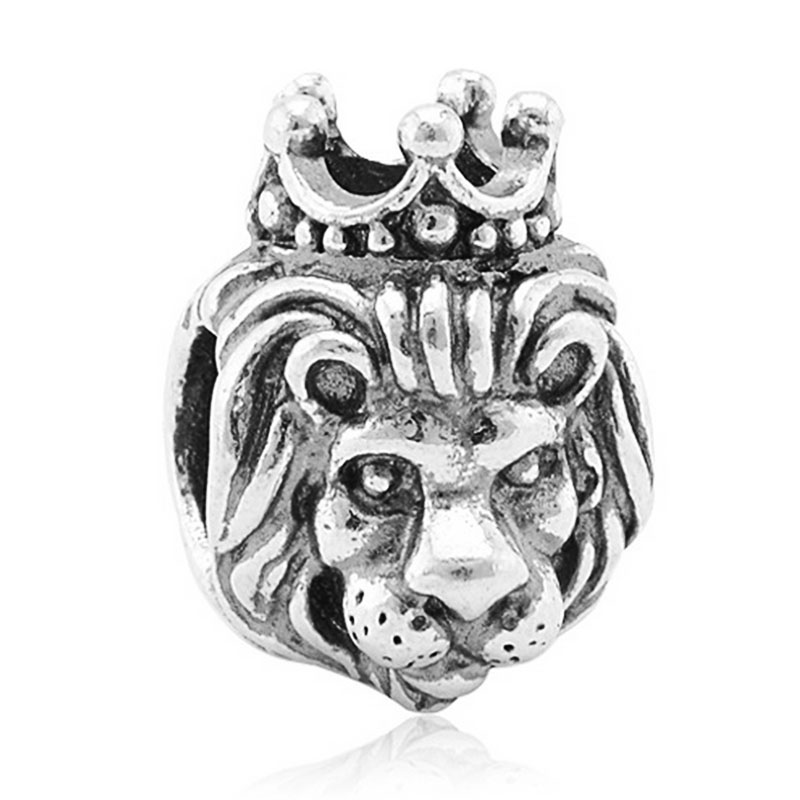 Fashion 1pc Floating Bead Charms European Antique Silver Plated Lion Bead Fit Pandora Charm Bracelet Necklace