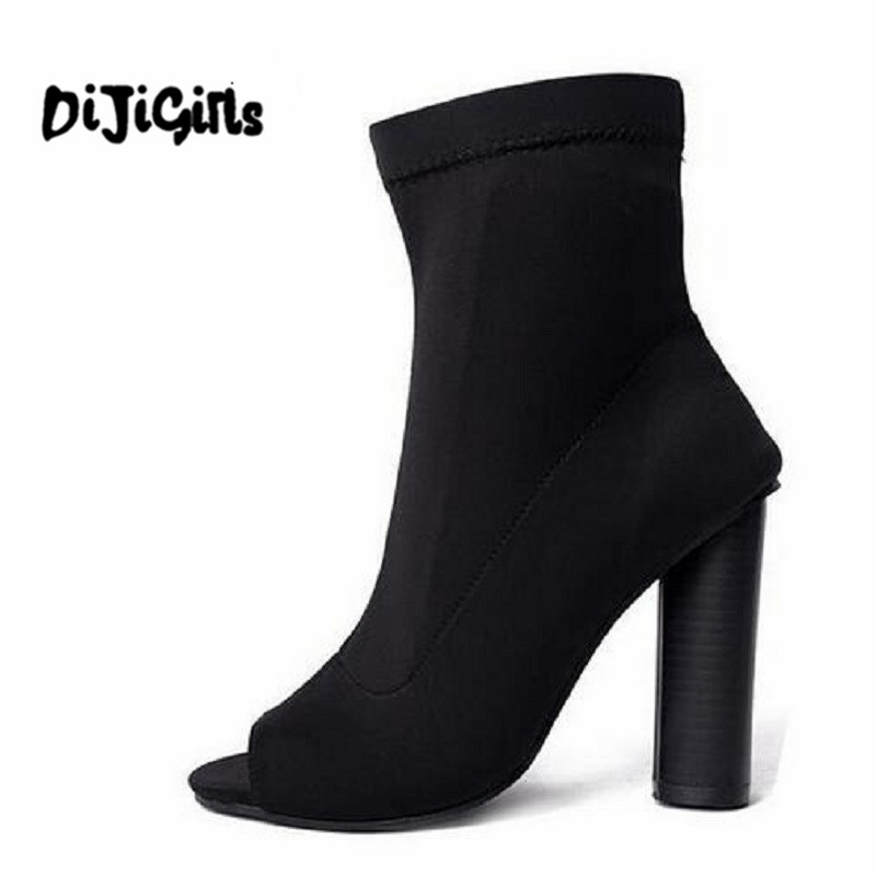 DiJiGirls Fashion Women Stretch Summer Ankle Boots Peep Toe Slip On High Heels Elastic Sock Botas Short Booties Botines Mujer hot stretch knitted peep toe ankle boots sexy women fashion booties cut outs slip on stiletto high heels botas mujer shoes woman