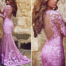 belle robe de soiree longue Lace Evening Dresses Lilac abendkleider abiye Mermaid Gowns Dubai Dress Full Sleeves