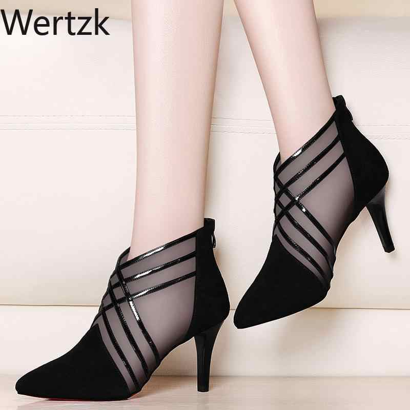 2019 new arrived woman mesh ankle boots for women summer 10cm thin heels boots sandal ladies pointed toe shoes sandals E513