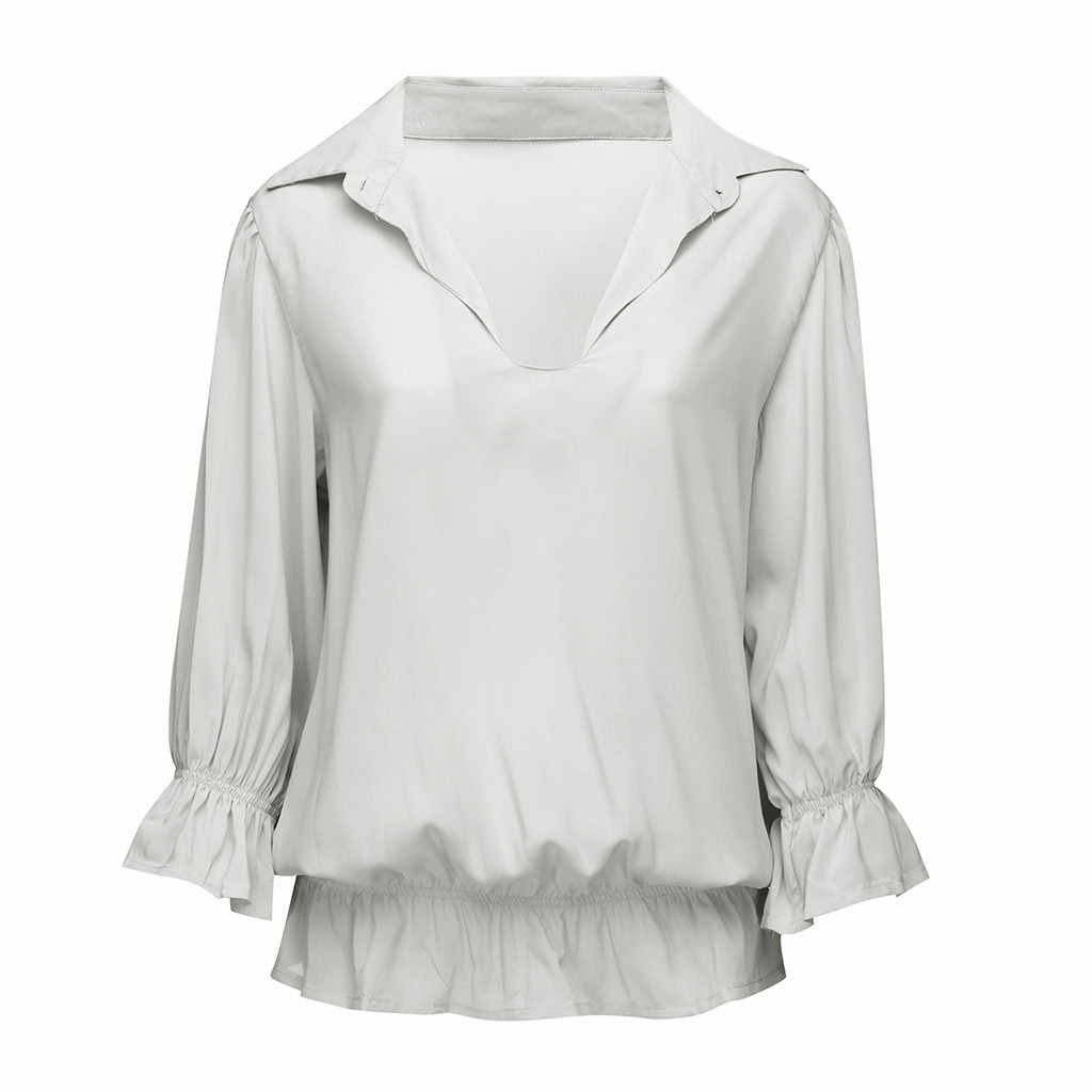 Chemisier Femme Women's Blouse Women's Solid 3/4 Sleeve Ruffled Elastic Band Button-Open Collar Top Blouse Bluzki Damskie