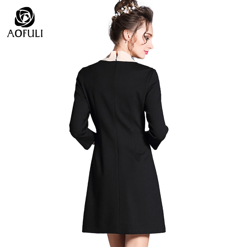 S M L Pink Ribbon Bow Collar Women Black Dress Golden Bee Appliques