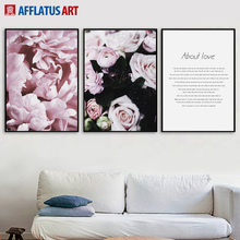 Pink Rose Flower Love Dream Quotes Wall Art Canvas Painting Nordic Posters And Prints Pictures For Living Room Home Decor
