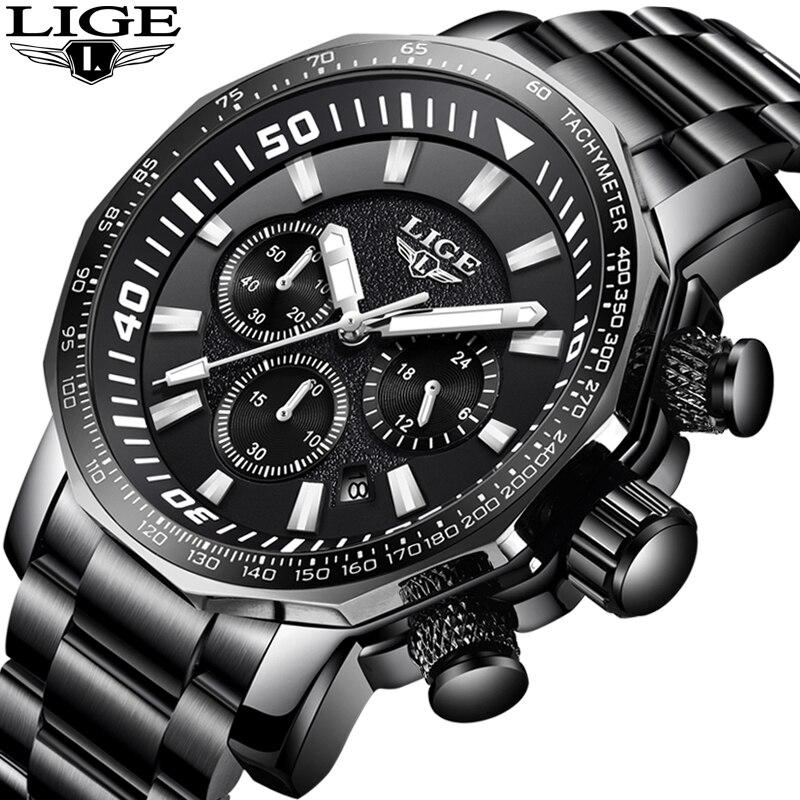 LIGE hommes montres Top marque de luxe en acier inoxydable quartz pour mode décontractée montre hommes sport étanche montres Relogio Masculino