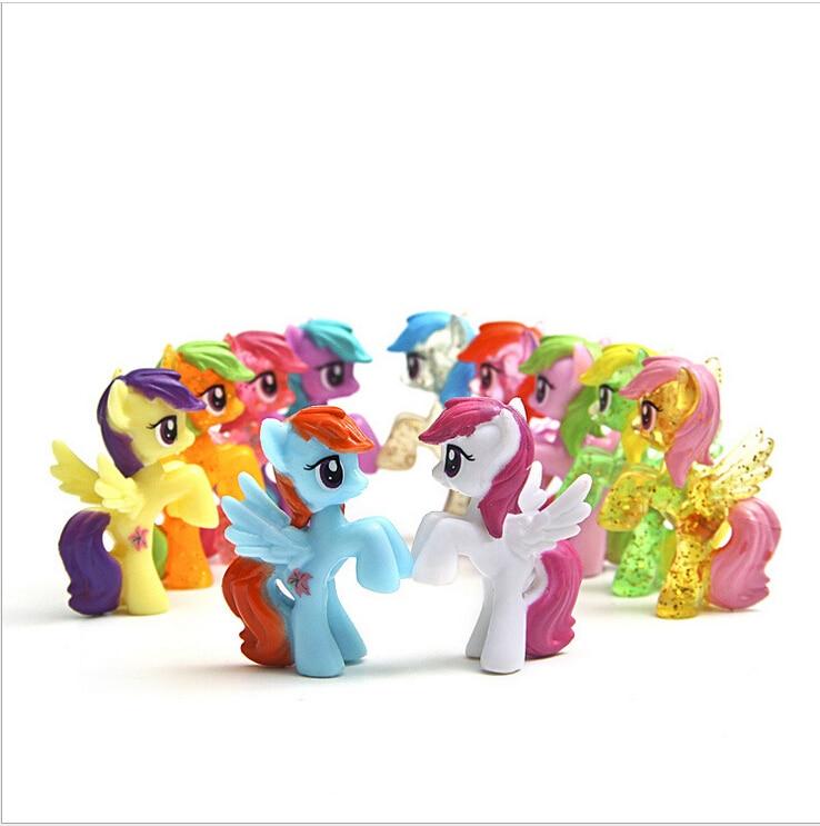 1pcskawaii 4 5cm rainbow horse animation kids toys little. Black Bedroom Furniture Sets. Home Design Ideas
