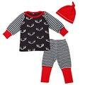 Astas de navidad Nueva Llegada Del Bebé Ropa Traje de Manga Larga de Impresión Camisetas + Pantalones Encuadre de cuerpo Entero de Impresión Rayada + Sombrero Rojo 3 Unids Conjunto