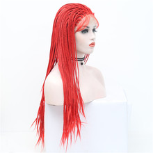 High Temperatiure Fiber Hair Wigs With Baby Hair Red Long Straight Braided Synthetic Lace Front Wig For Women