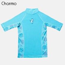 Charmo Child Swimsuit Boys Rashguard Set Short Sleeve Two Pieces Swimwear Rash Guard UPF 50+ Swim Shirts Sports shirt